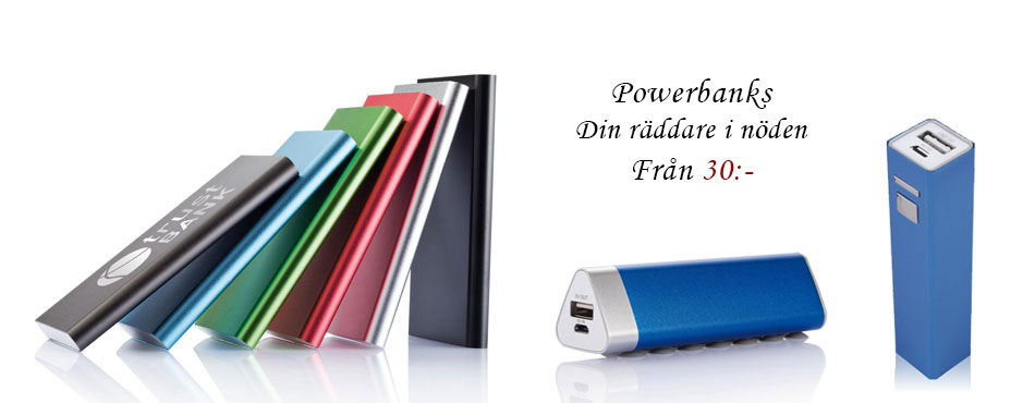 Powerbanks med personlig gravyr